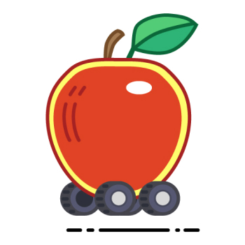 Vector illustrations thumbnail: Apple on Wheels